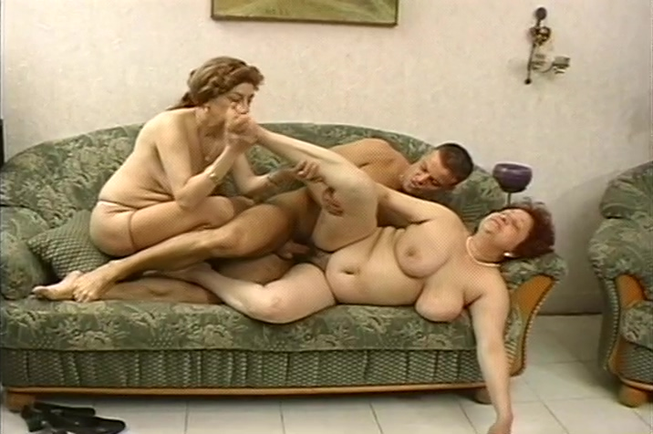 Two Large Ladies Pleasure Lucky Stud In A Fireside Threesome