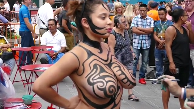 Big tits girl public body painting Signs Of Girls Liking You