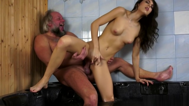 Carolina Abril having dirty sex with a old man in a sauna 4t Topless sunbathing voyeur