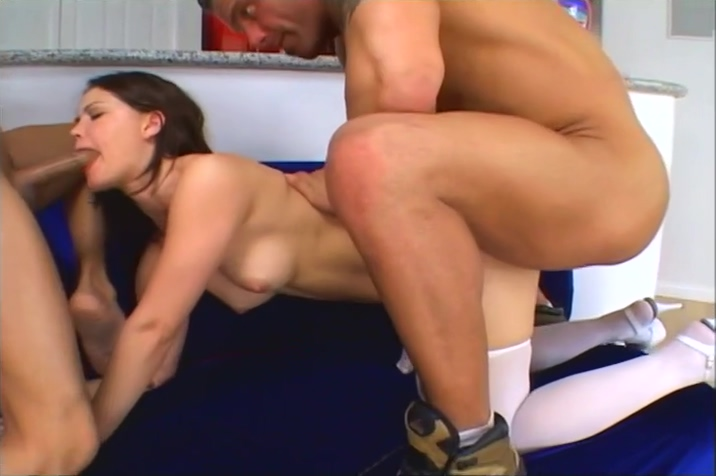 Selena Silver Gives Anal To Two Horny Guys Cum on huge natural tits gifs