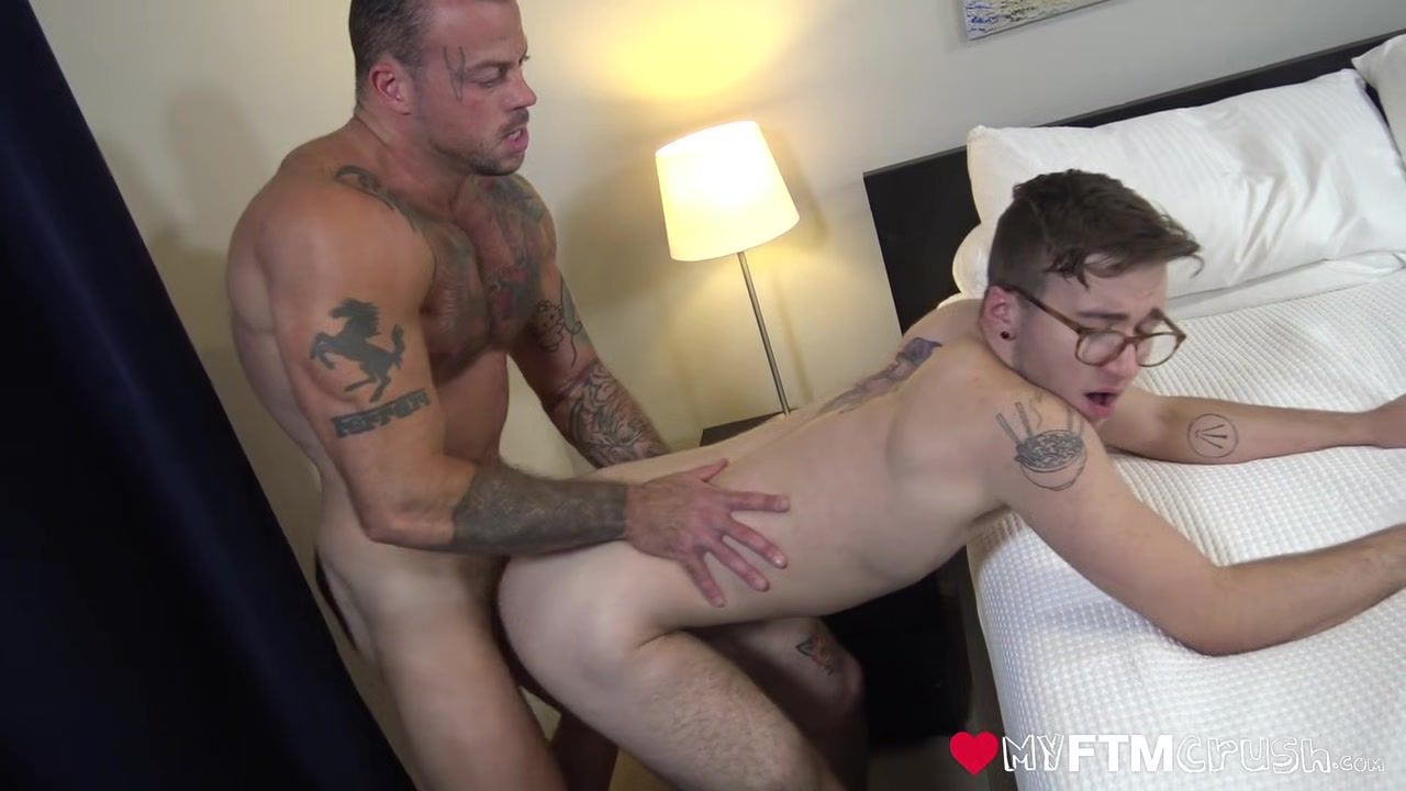 MyFTMCrush - FTM cutie Ari Koyote fucked by tatted muscle daddy after bj Girl cries while ass fucked