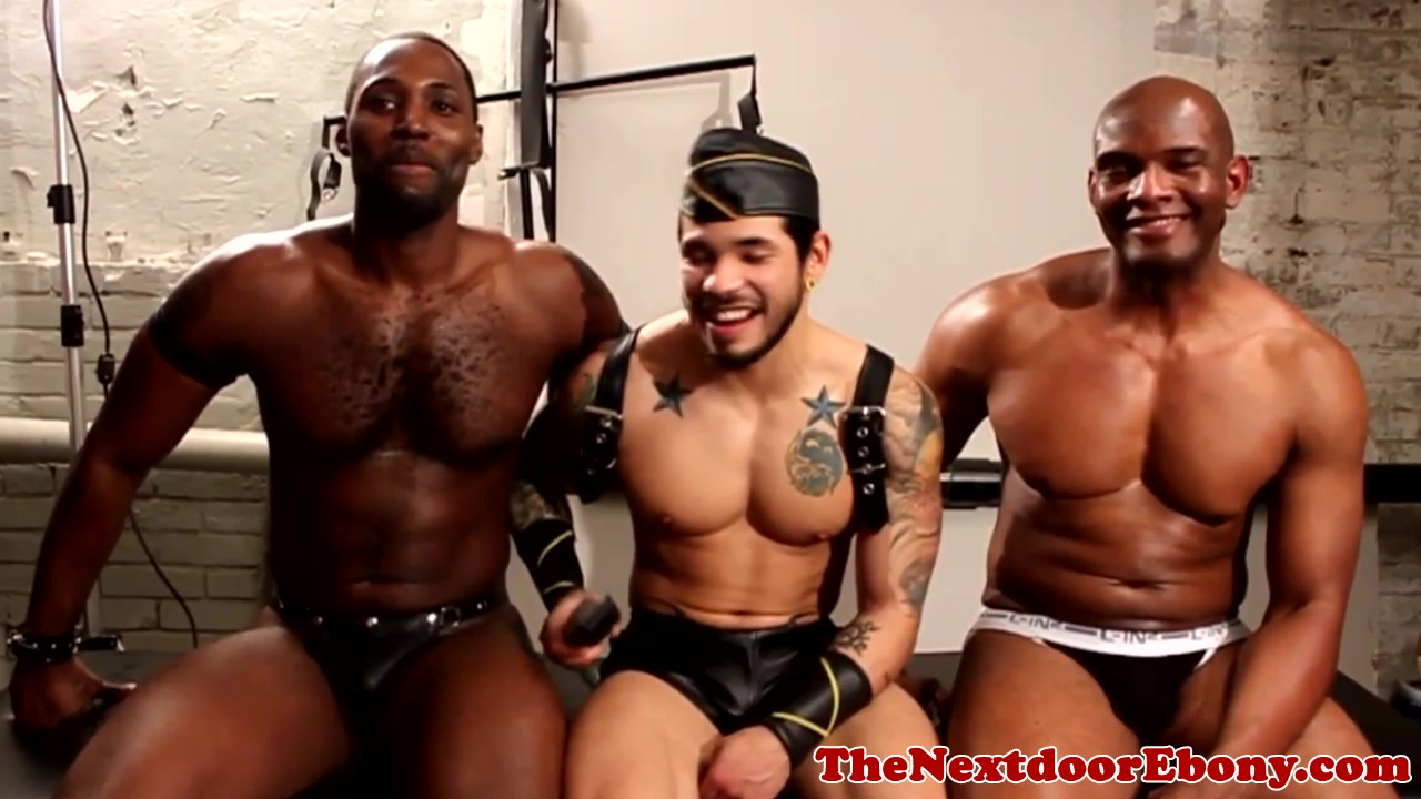 Leather ebony stud gets blowjob from hunk Hairy plump redhead close up