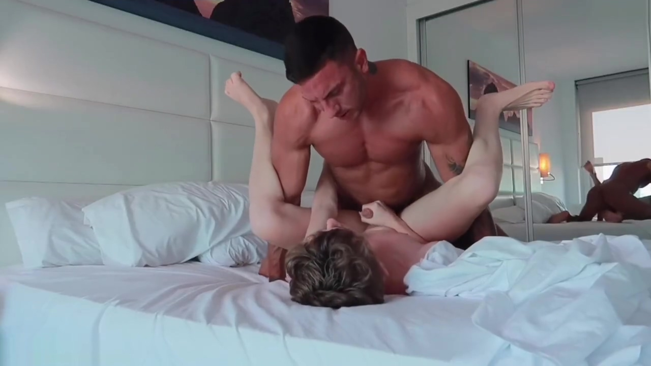 Cute Boy bareback rides his Fit Daddy on vacation Blonde bodybuilder in bikini
