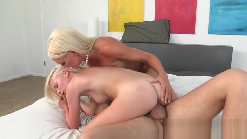 MILF teaches petite babe how to ride cock in threeway
