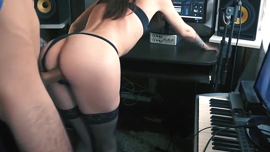 The young singer music allowed the sponsor to fuck herself at the computer and cum inside World record bukkake free video