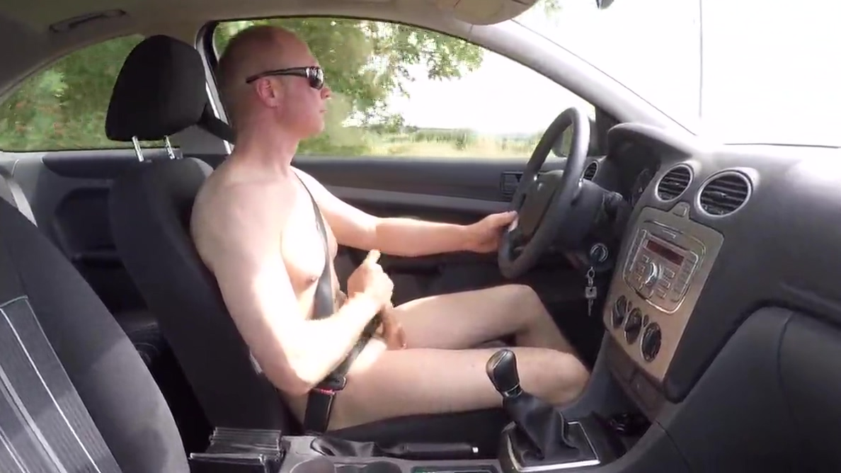 Naked driving and masturbation sloppy pussy close up