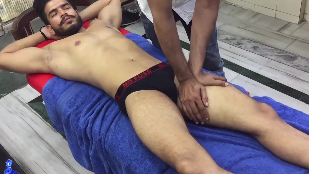 Hot Young lndian Man Body Massage Educational powerpoint background
