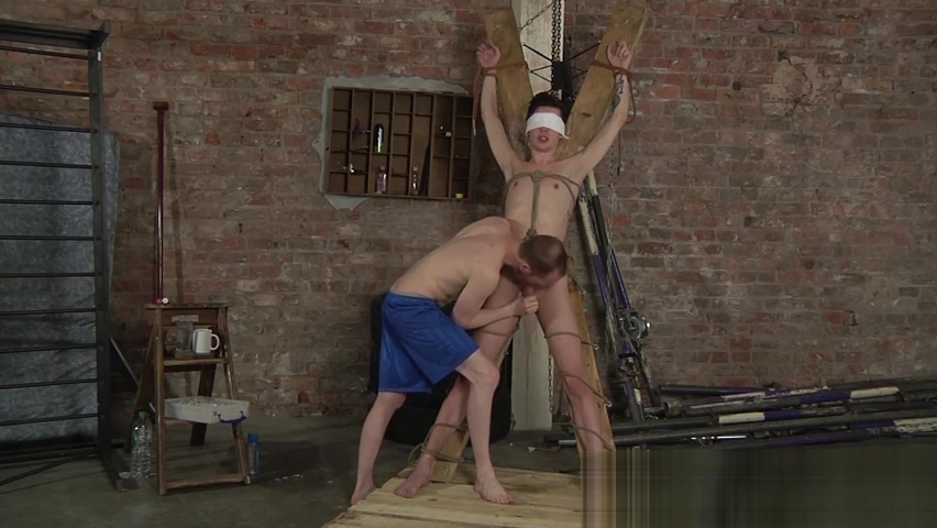Blindfolded and restrained slave cock stroked by master white women big tits nude