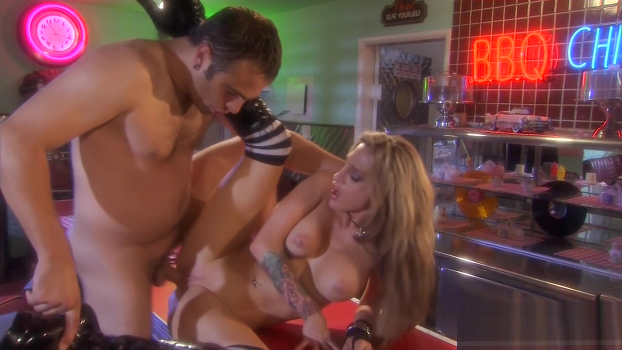 Inked honey Sarah Jessie is banged in a diner Best hot japan girl masturbation