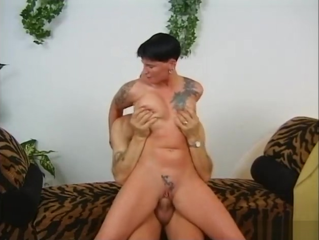 Shorthaired girl gets cum on her tits