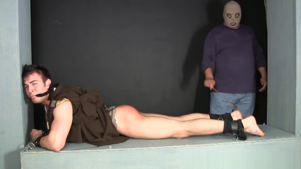 Stripped bound and gagged cop gets his ass and feet worked over. Two Girls And One Lucky Guy