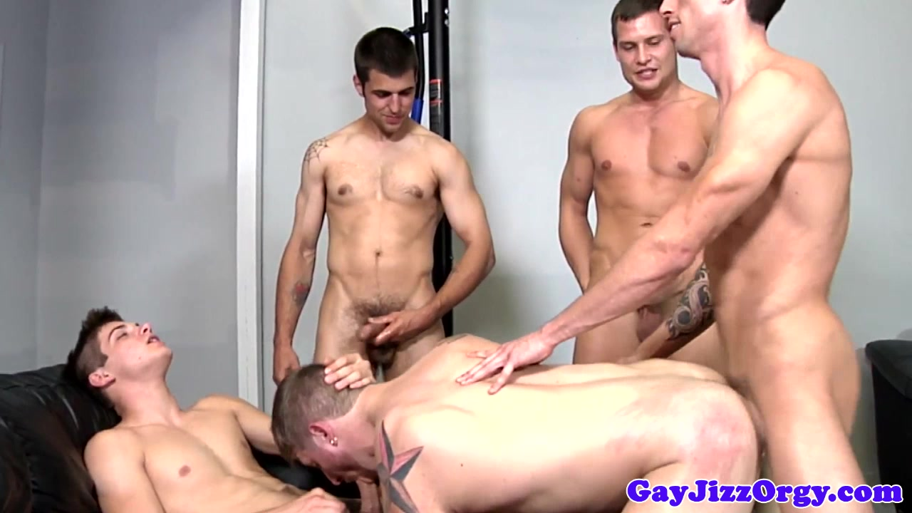 Muscle cumcovered in group after analfucking no talk just sex