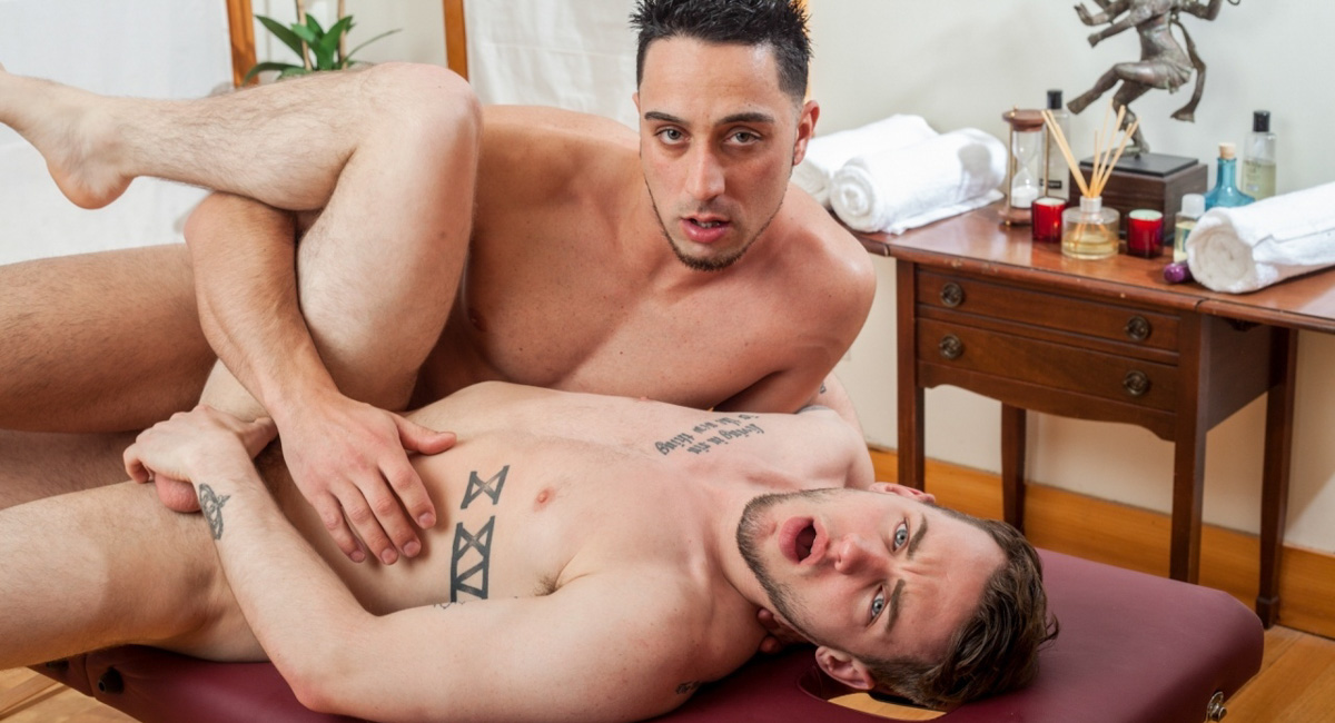 Andrew Fitch & Colton Grey in Gay Massage House 3 Video Playgirl delights with her naughty anal riding