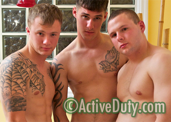 Carson, Dustin & Zander Military Porn Video lesbians with strapons banging