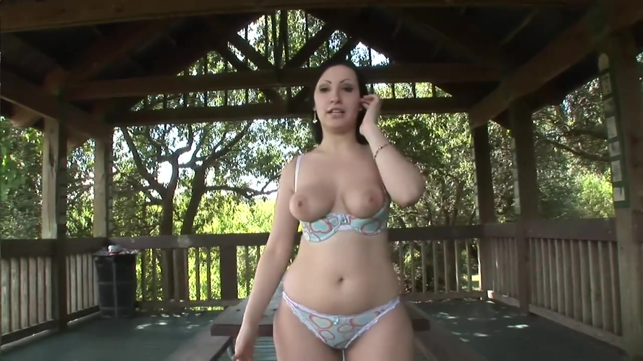 Busty girl loves to flash outside - DreamGirls