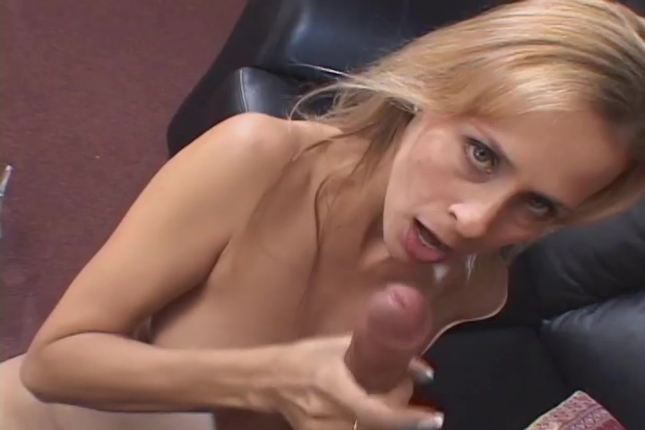 Horny blonde MILF rubs herself while she wanks him off