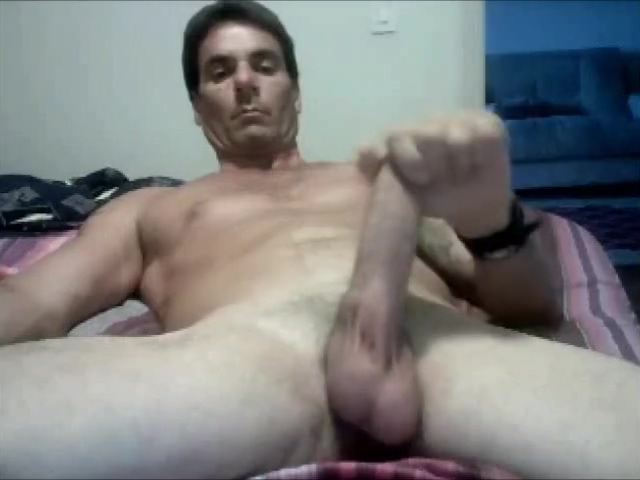 Hot Built Daddy shoots that cum Foot Fist Down
