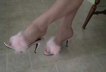 Shes Dangling Pink Marabou Slippers