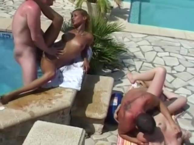 Babes Fuck A Couple Of Studs By The Pool - Telsev Milf in stockings pic