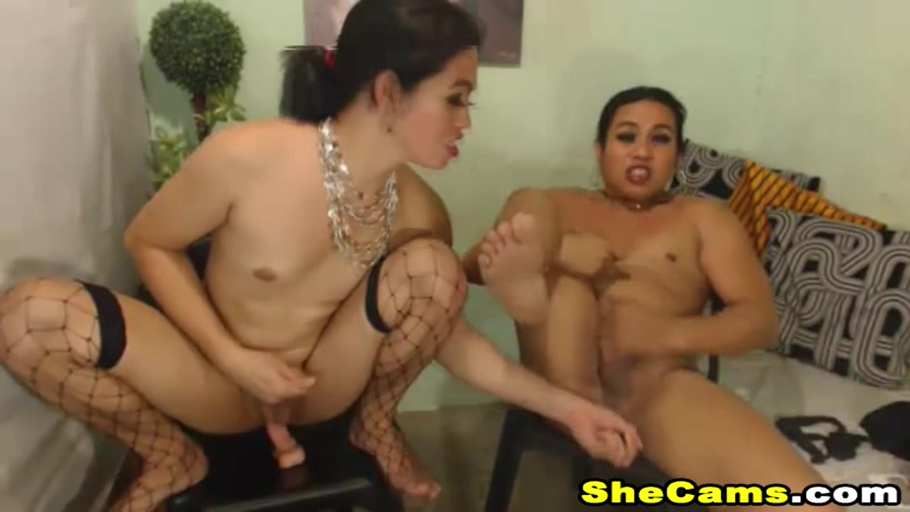 Two shemale with Big Cock fucking each other Hole