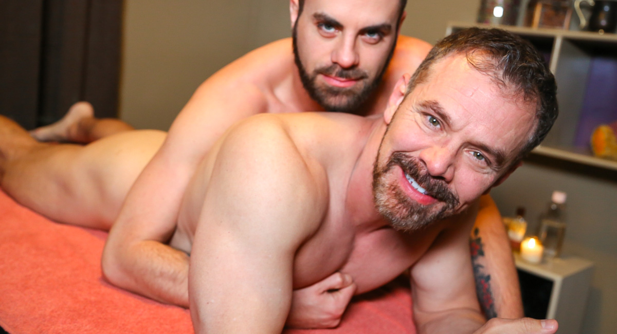 Marcus Isaacs & Max Sargent in Rubdown Romance Video Girl strip and give blowjob porn gifs