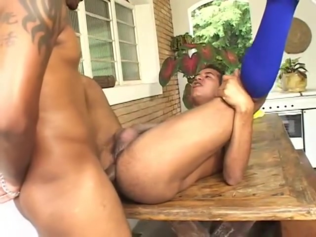 Eating Ass In The Kitchen - Bareback Men making out with her tits