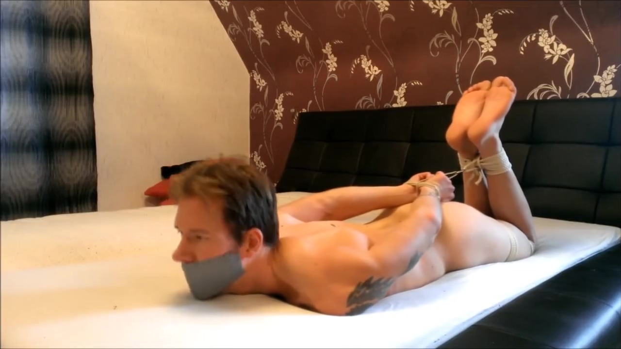 WSBP - Nacked Guy Tied and Gagged on the Bed! (Full Version) guy sits on glass cup