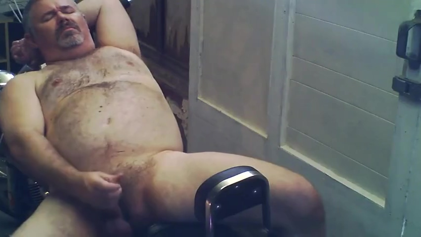 Bear jerks & rides a dildo on his bike Latin free sex video