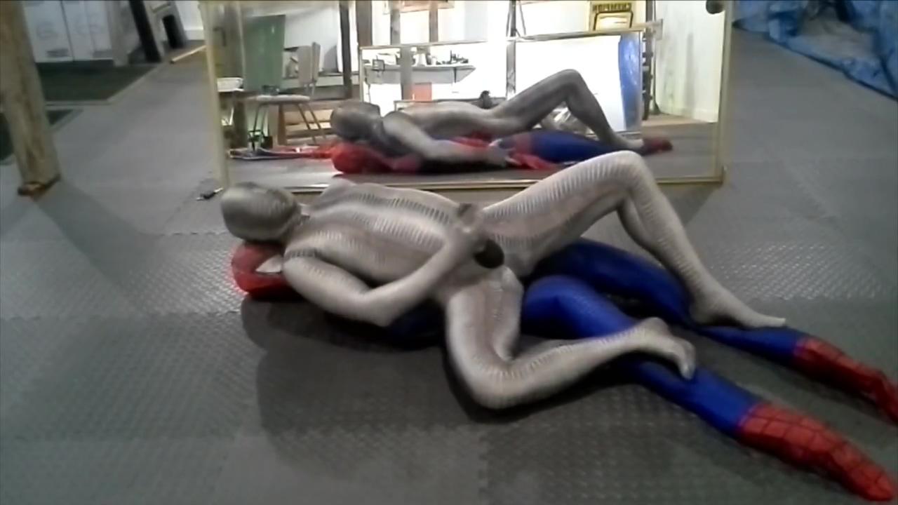 zentai croc humps his spiderman dummy Tanya Danielle vs Jewel Marceau