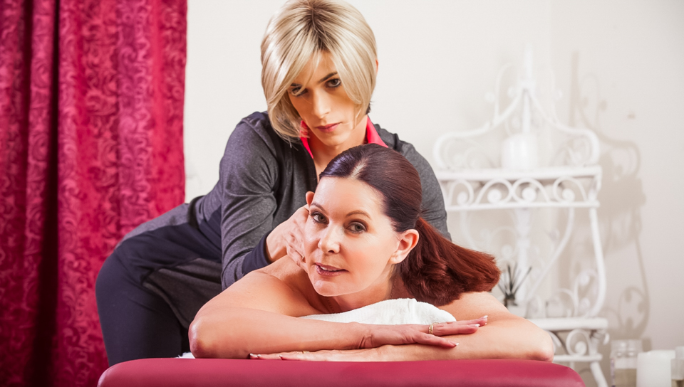 Magdalene St. Michaels & Nina Lawless in TS Massage Video Cowboy costume for boys