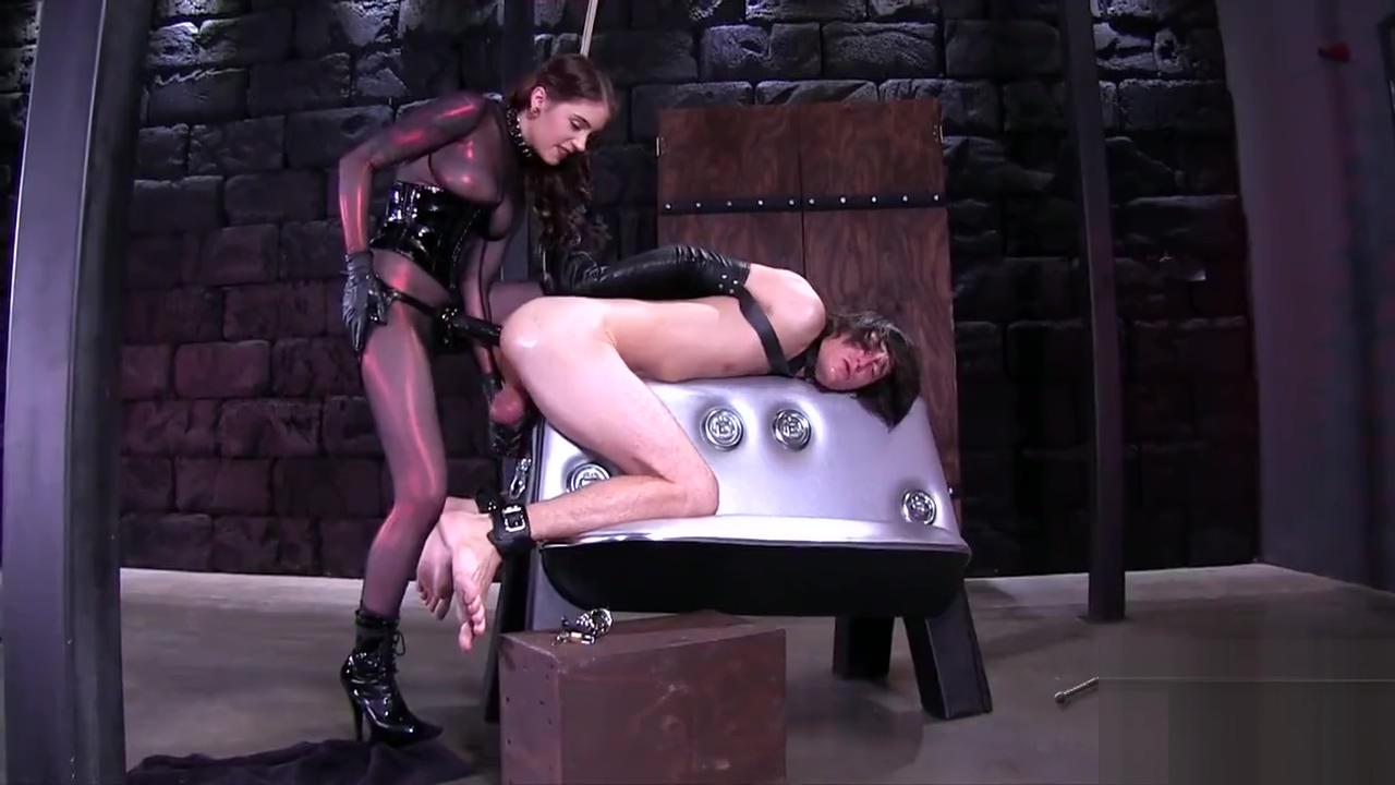 Mistress in catsuit splits slaves ass wide open body wash as anal lube