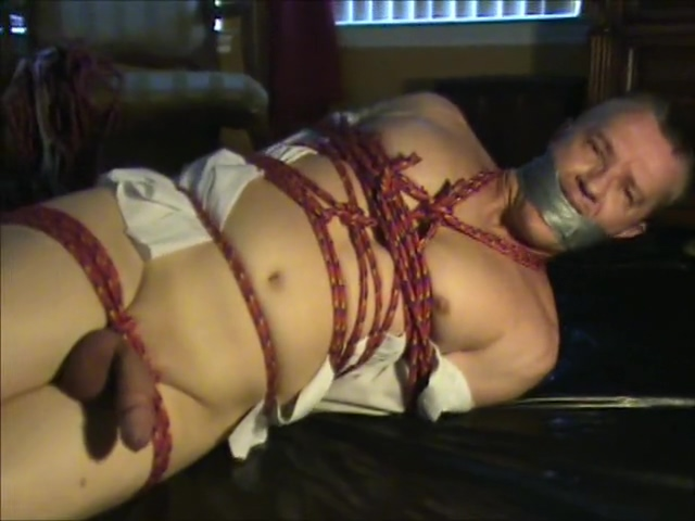 Bound and Gagged dude vibrated to orgasm lesbians fuck in tube