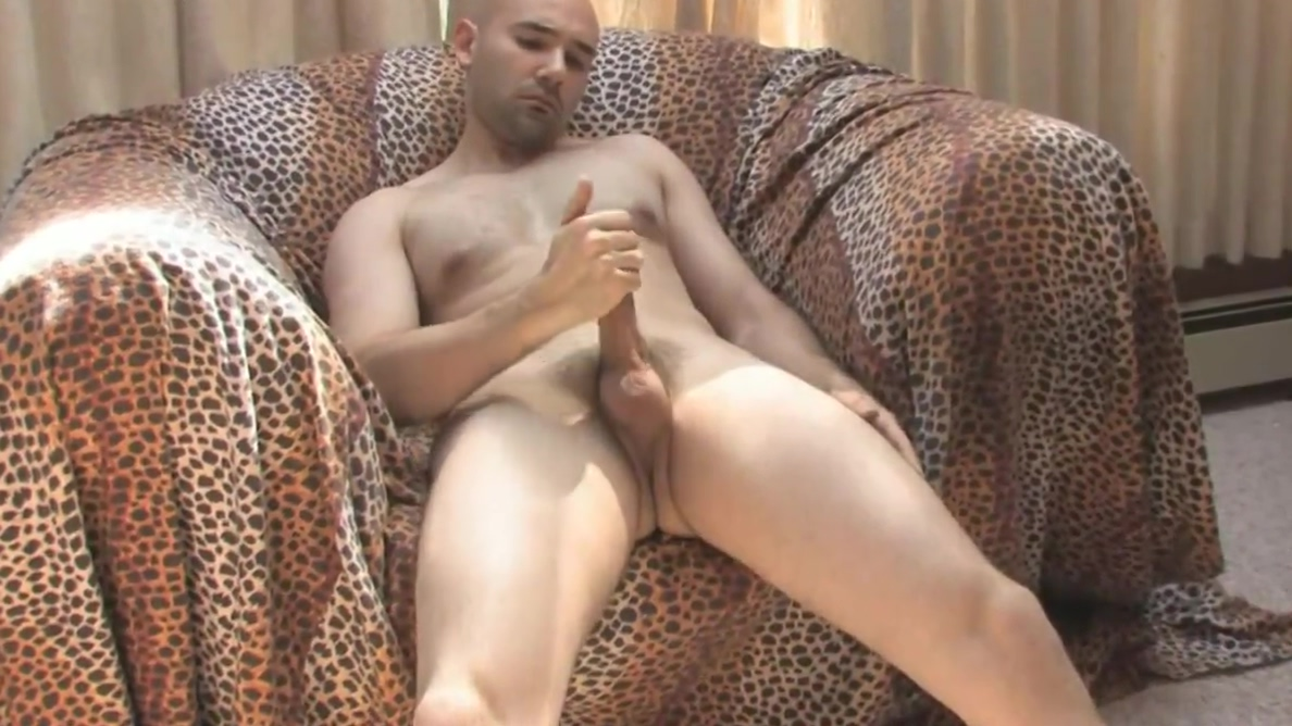 Sexy guy with a shaved head gets his cock stiff on a couch Birthday gift after 3 months hookup