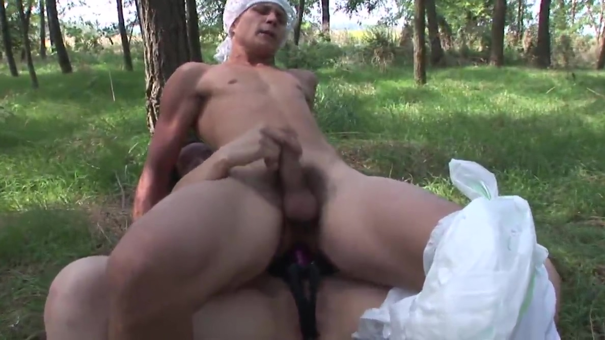 Brunette wanks partner in grass before making him come with strap-on Makenna wilson