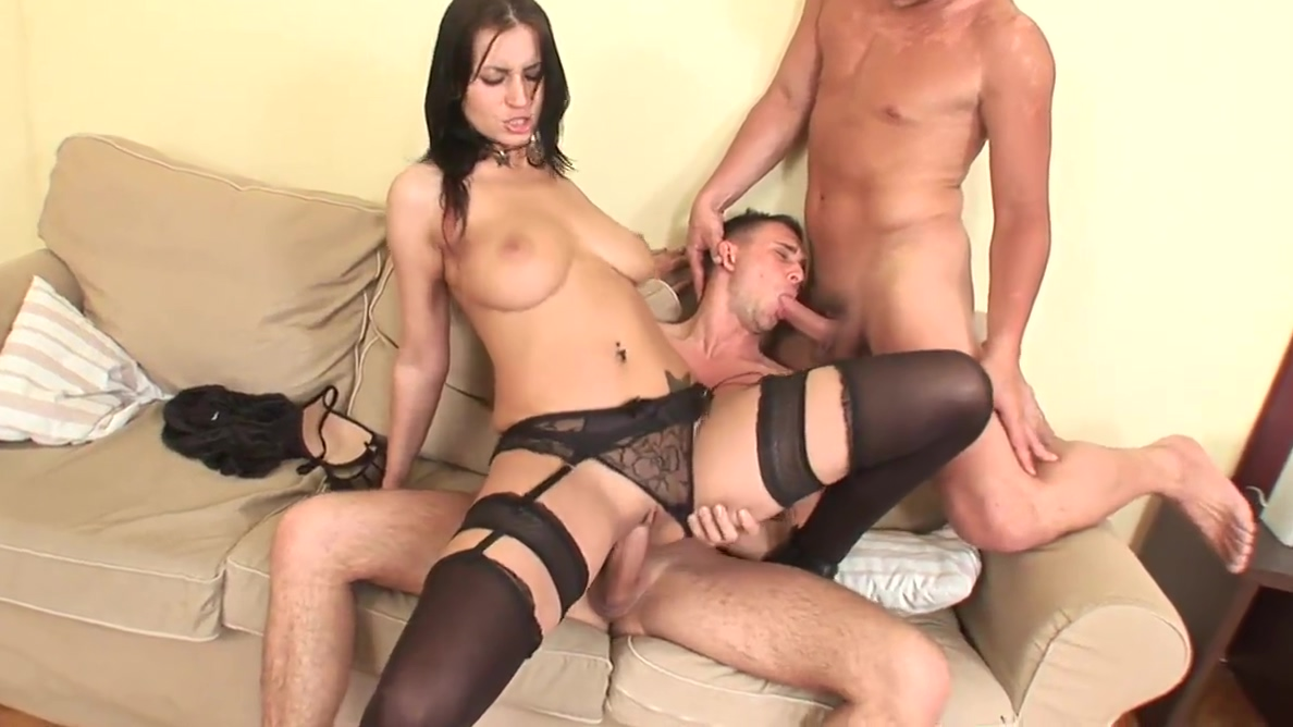 Bisexual hunks fuck a slut in stockings and each other Masseuse threeway stunner