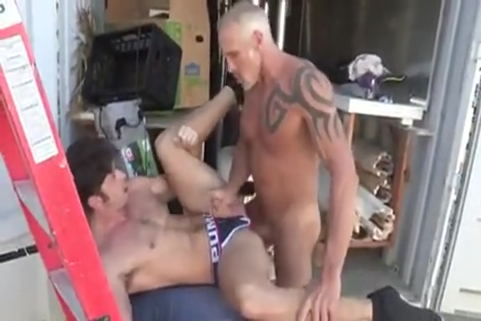 Muscled Daddy Breeds his boy gangbang with double vaginal