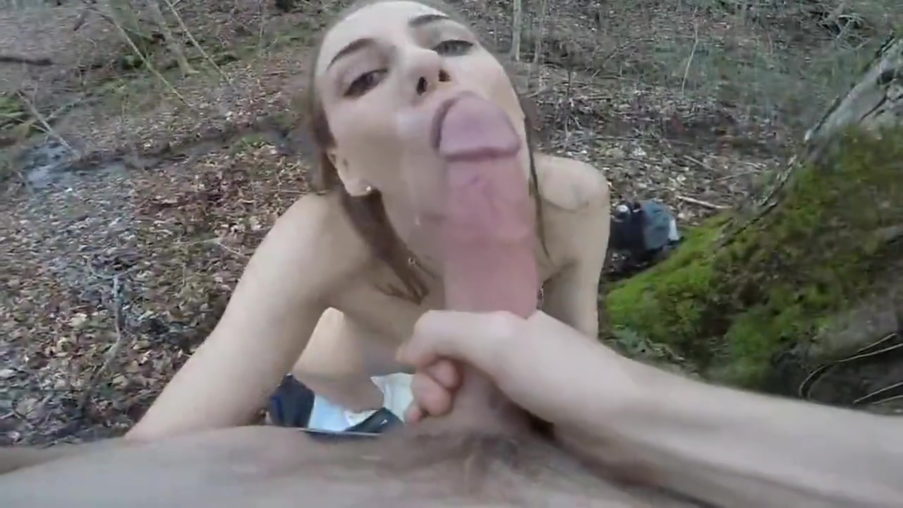 Stepbrother with monster dick fucks hard his stepsis in the woods