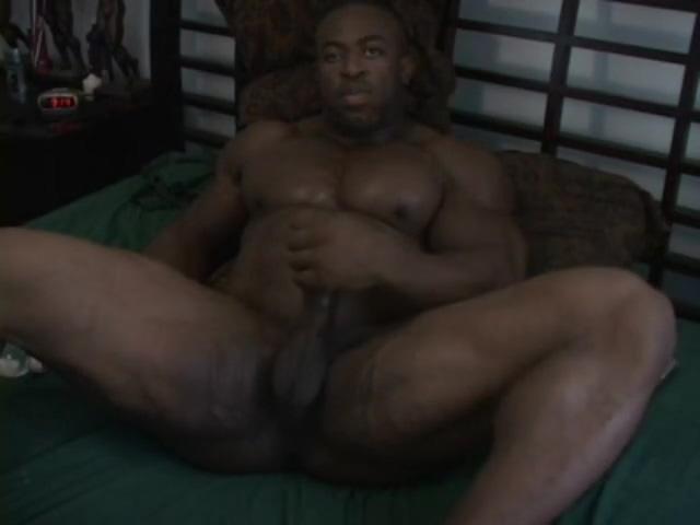 Nightly Naked jack-off - Big Black Bodybuilder cum scene Ebony big tits porno