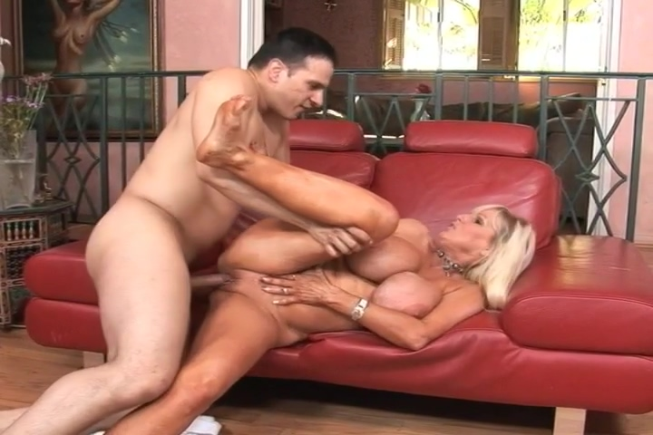 Older Blonde Lady With Huge Fake Tits Loves Dick