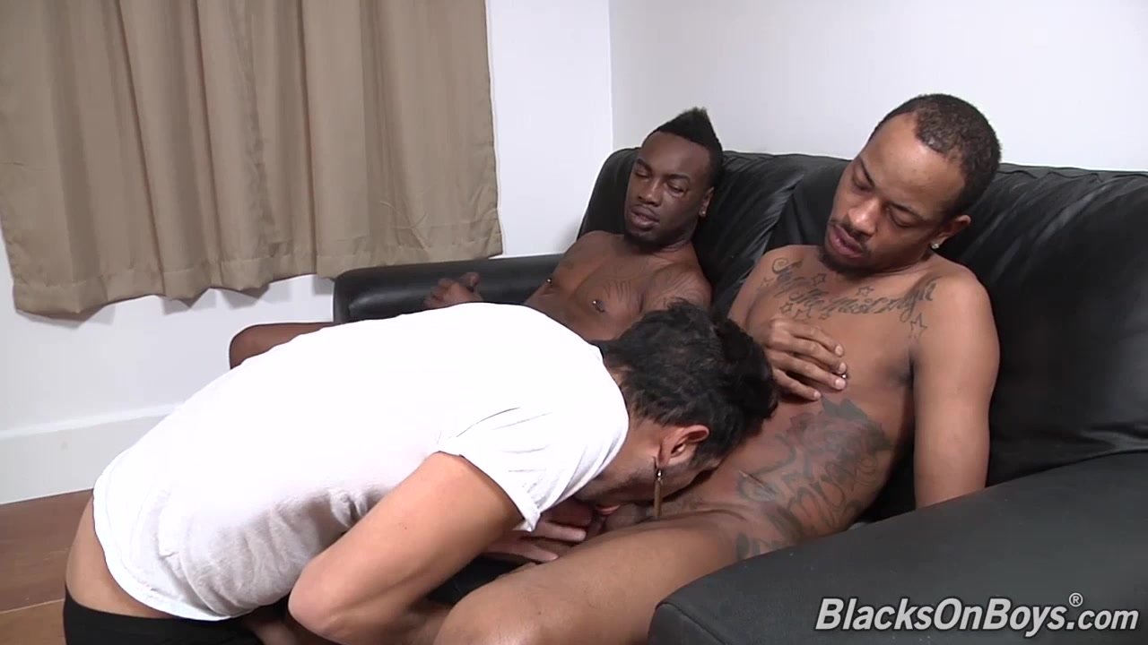 White dude sucking off two black cocks European Forced