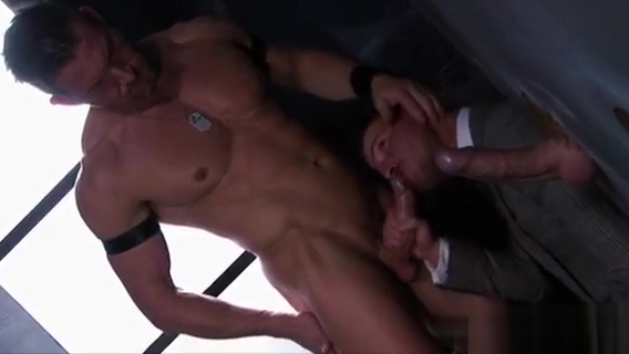Muscle gay threesome and facial Perfect ass gets covered in cum
