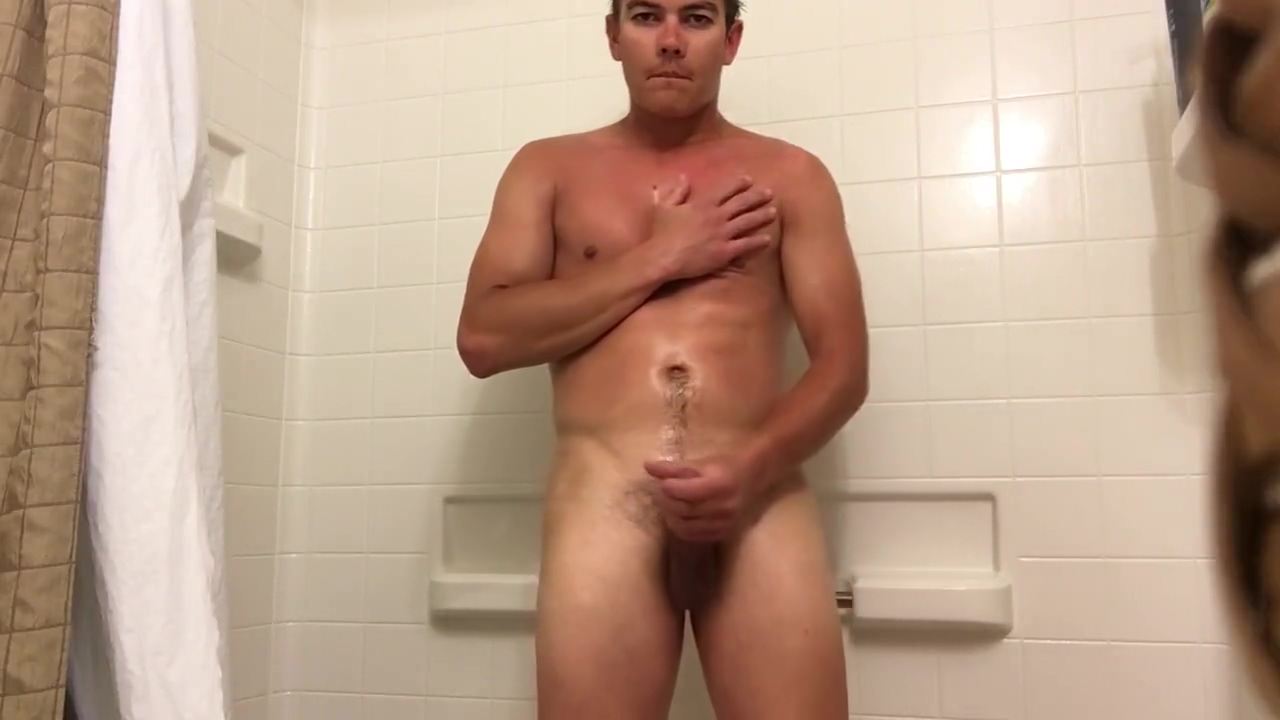 Taking a shower and playing with my cock Big boobs massage