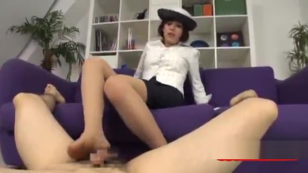 Asian Office Lady In Pantyhose Giving her boss a Footjob