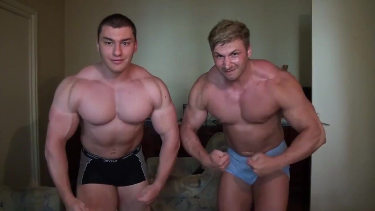 Str8 muscle friends flexing and bed wrestling Streaming japanese bukkake