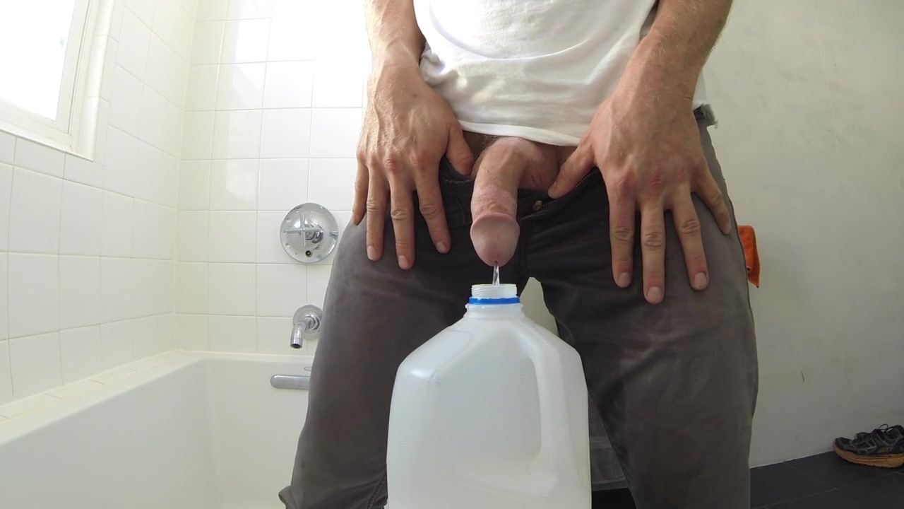 Soaking my grey jeans 5 times and pouring piss all over myself Nude pic photo