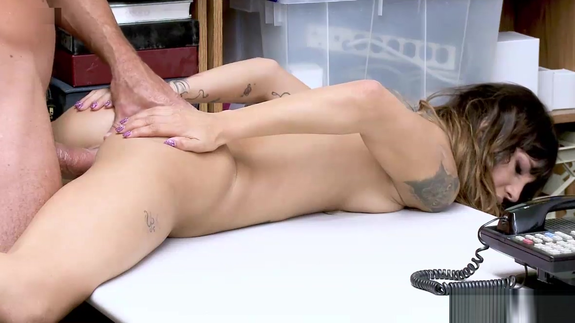 LP Officer spreadeagle fuck Kitty Carreras stretched pussy! Feet Office