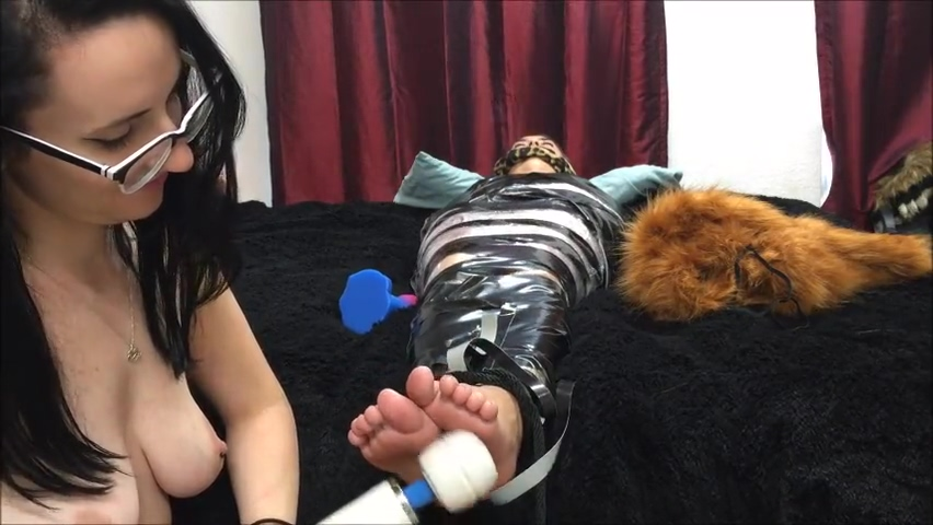 Wrapped, gagged and tickled Sexy girls of show
