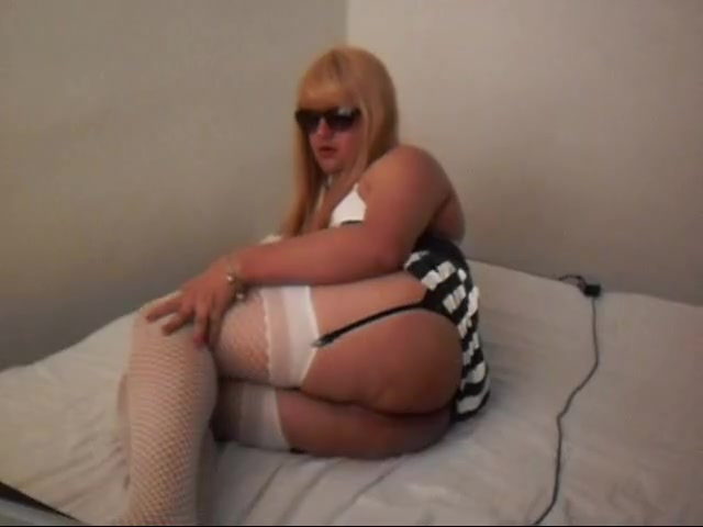 CD blonde in white tights Sexy busty milf needs two dicks
