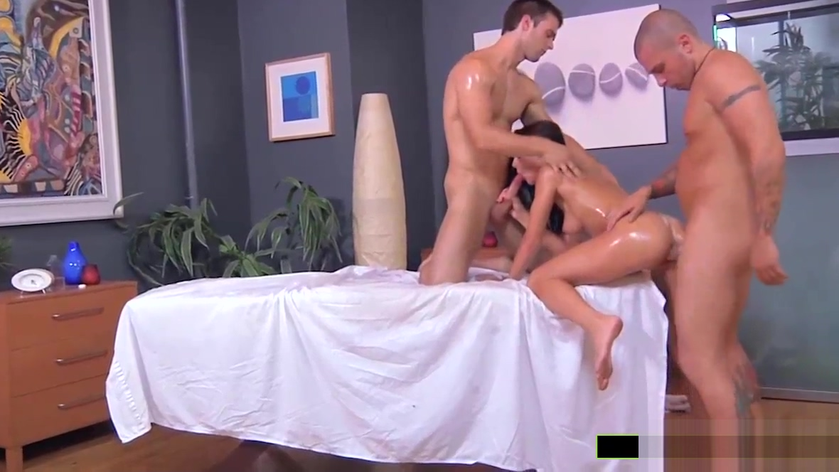 Hot Roxy Lane is banged by two masseurs Hot flat chested girls fuck