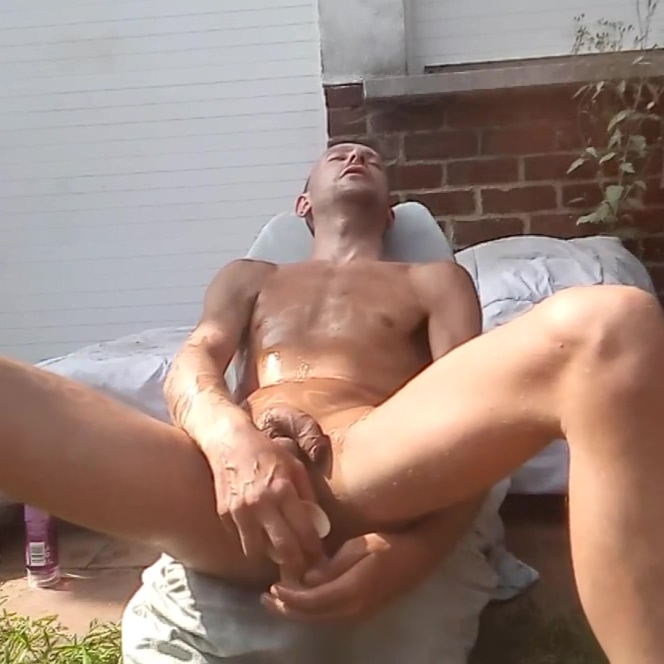 Skinny gay amateur masturbating full nude outdoors in his backyard with a dildo deep inside his male pussy. Xavier Desmadryl showing the world that he is a true bottom faggot and that he adores anal. Forbidden sex nude scenes